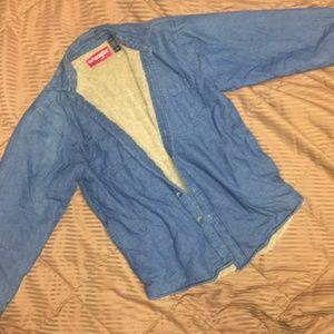 Wrangler denim sherpa lined long sleeve shirt mens